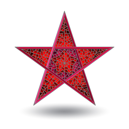 Illustration with abstract five-pointed red stained-glass star, isolated on white background