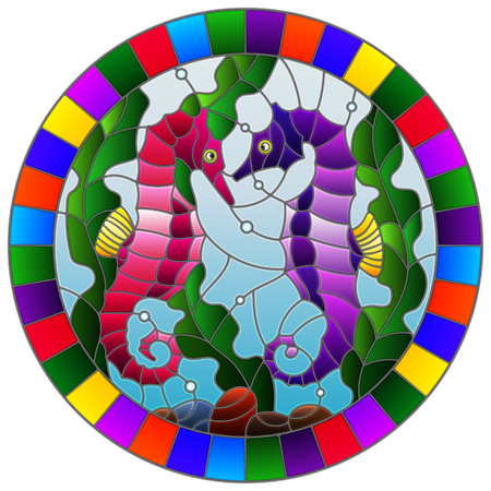 Illustration in stained glass style with a pair of fish seahorse on the background of water and algae,round  picture in a bright frame  Illustration