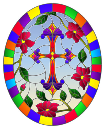 Stained glass illustration with a  purple Christian cross in the sky and pink flowers, oval picture in a bright frame