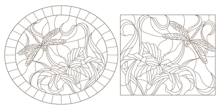 A set of contour illustrations of stained glass Windows with dragonflys and lilies, oval and rectangular images