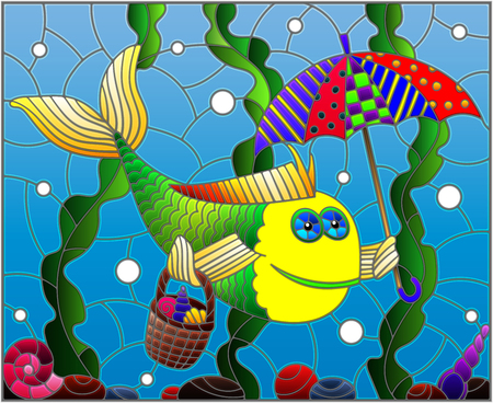 Illustration in stained glass style with cartoon funny fish under an umbrella on the background of the seabed and algae Vectores