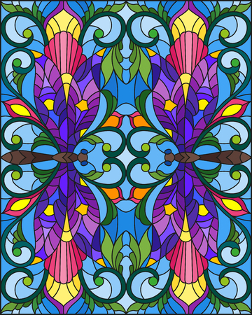 Illustration in stained glass style with bright dragonflys, flowers and leaves, on a blue background Vettoriali