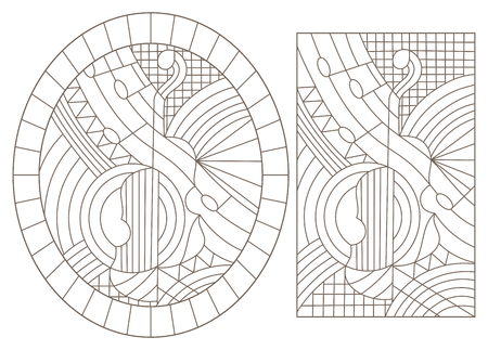 Set of contour illustrations of stained glass Windows with abstract violins, dark contours on a white background Vettoriali