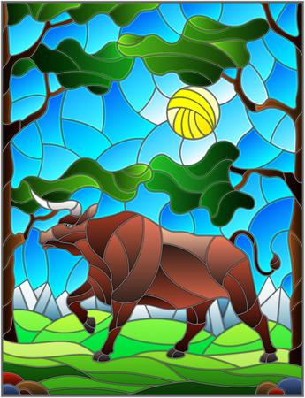 Illustration im Buntglasstil mit wildem Stier auf dem Hintergrund von Bäumen, Bergen und Himmel Vektorgrafik