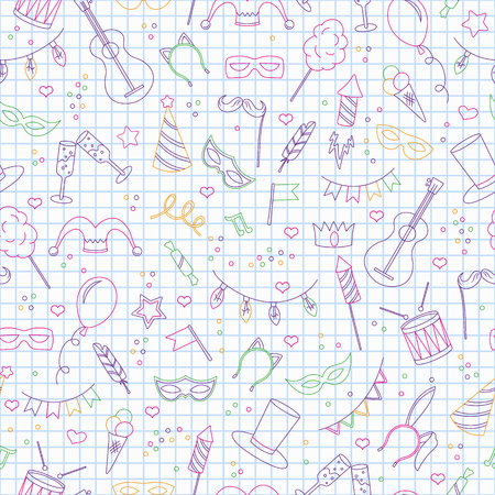 Seamless pattern on the theme of masquerade and carnival , simple colored contour icons on the clean writing-book sheet in a cage