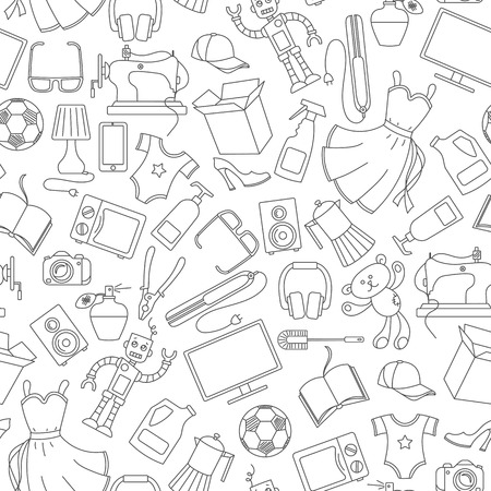Nahtloses Muster auf einer Vielzahl von Produkten und Einkäufen, einfache Kaufsymbole, dunkle Konturen auf weißem Hintergrund