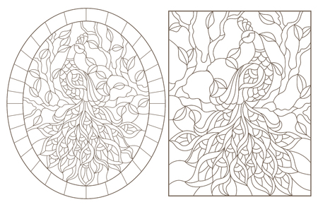 Set of contour illustrations with peacocks on a tree branch, dark outlines on a white background Stock Illustratie
