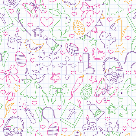 Seamless pattern with simple contour icons on a theme the holiday of Easter , colored outline icons on the clean writing-book sheet in a cage Stok Fotoğraf - 124741148