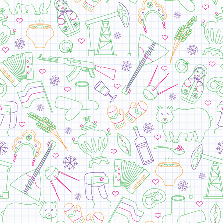 Seamless pattern on the theme of travel in the country of Russia, a simple outline of cartoon icons with a typical country characters, painted with colored markers on the clean writing-book sheet in a cage Stok Fotoğraf - 124741150
