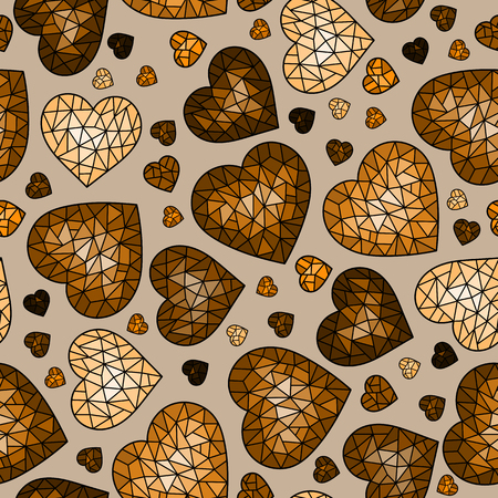 Seamless pattern with abstract cracked hearts, brown cracked hearts on beige background, Sepia