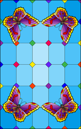 Illustration in stained glass style with bright purple butterflies on a segmented window background, on a blue background