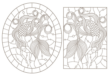 Set of contour illustrations with mermaids on water and air bubbles background, dark outlines on white background