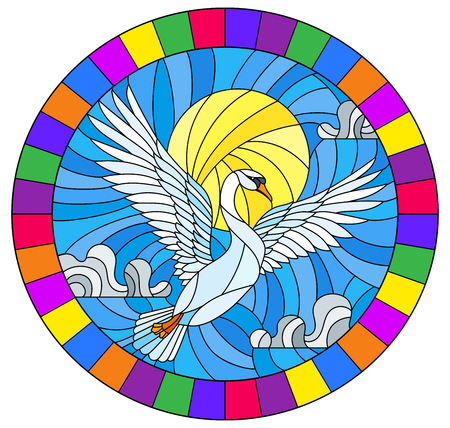 The illustration in stained glass style painting with a flying white swan on the background of sky, sun and clouds, the oval image of the bright frame