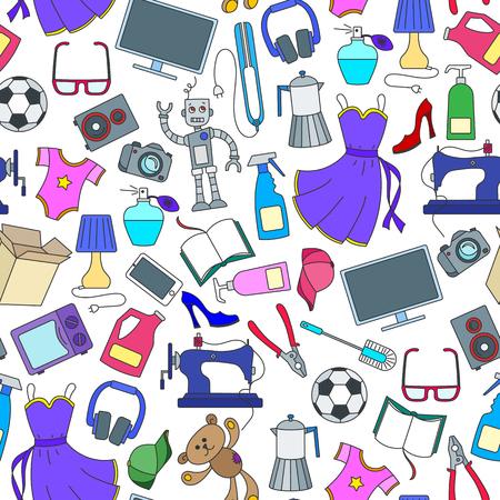 Patrón sin fisuras en una variedad de productos y compras, iconos de compra simple, iconos de colores sobre fondo blanco.