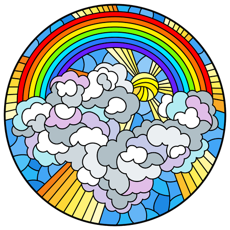 Illustration in stained glass style with celestial landscape, sun and clouds on rainbow background, round image Çizim