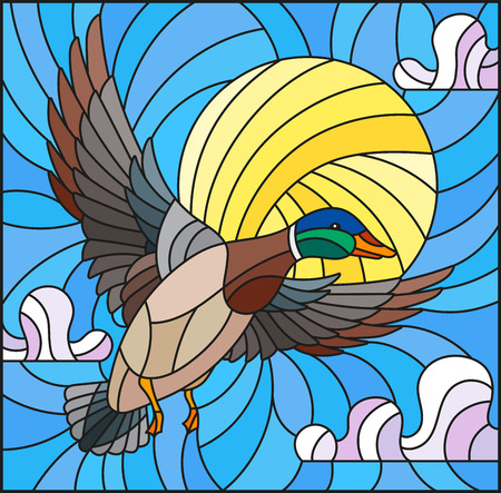 The illustration in stained glass style painting with a flying duck on the background of sky, sun and clouds 矢量图像