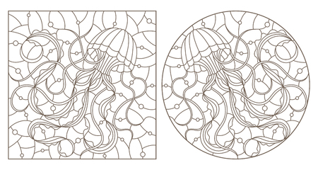 A set of contour illustrations of stained glass Windows with jellyfish on a background of water and air bubbles, dark contours on a white background