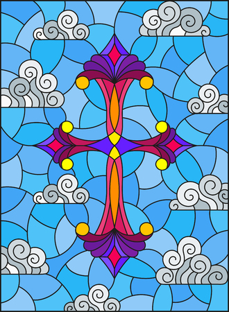 Illustration in stained glass style with bright cross on a background of blue sky and clouds Illustration