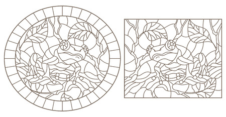 A set of contour illustrations of stained glass frogs sitting on tree branches, dark contours on a white background Illustration