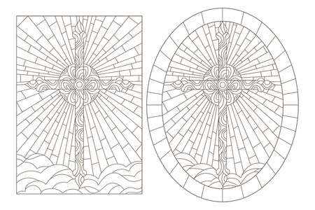 Set contour illustrations of stained glasses with Christian cross, oval and rectangular image 向量圖像
