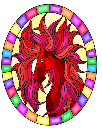 Illustration in stained glass style with abstract red   horse on a yellow background oval picture in bright frame Çizim