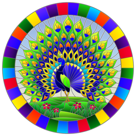 Illustration in stained glass style with colorful peacock on blue sky and flowers, round image in bright frame