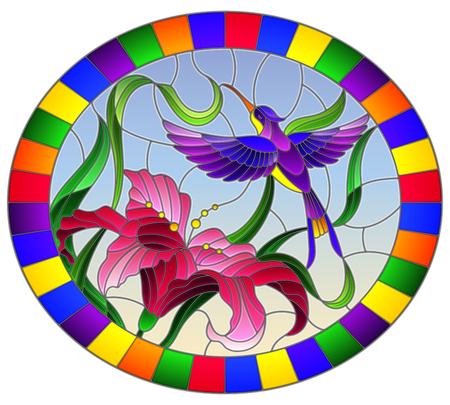 Illustration in stained glass style with bright Hummingbird against the sky, foliage and flower of Lily, oval image in bright frame