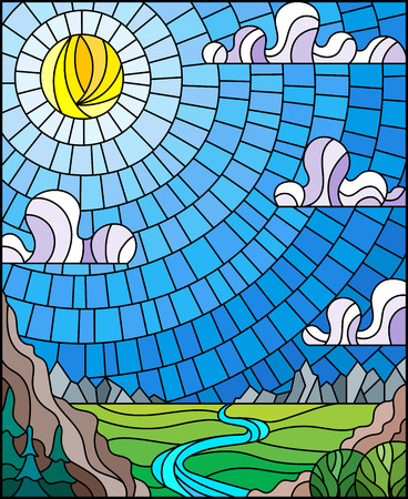Illustration in stained glass style with the meandering river on a background of mountains, forests and Sunny sky Banco de Imagens - 119178478