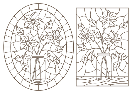A set of contour illustrations of stained glass Windows with floral still lifes, dark contours on a white background