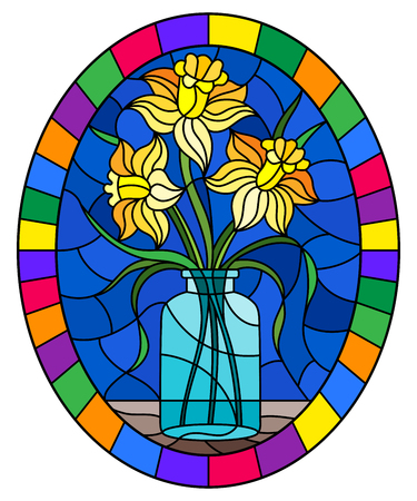 Illustration in stained glass style with still life, bouquet of yellow daffodil in a glass jar on a blue background, oval image in bright frame