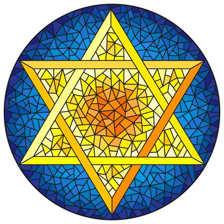 Illustration dans le style vitrail étoile à six branches de David, étoile jaune sur fond bleu, image ronde
