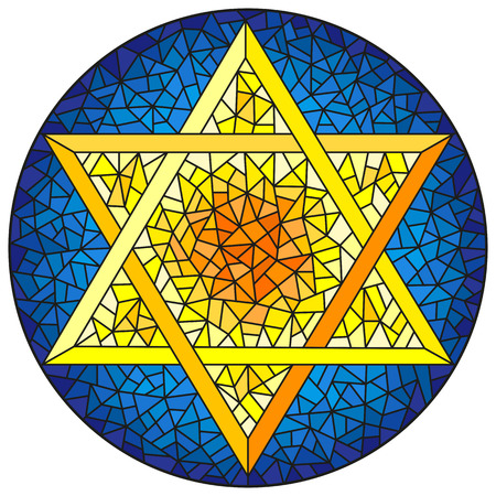 Illustration in stained glass style six-pointed star of David, yellow star on a blue background, round image