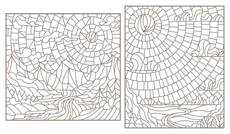 A set of contour illustrations stained glass mountain landscapes, dark contours on a white background