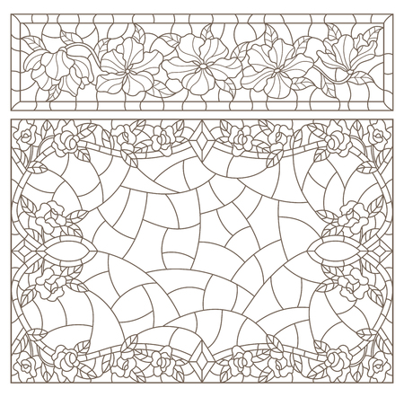 Set contour illustrations of stained glass with abstract swirls and flowers , horizontal orientation Vettoriali