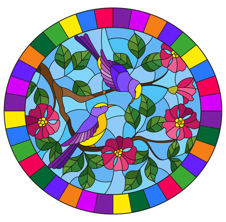 Illustration in stained glass style with two two bright birds on the branches of blooming wild rose on a background sky,oval image in bright frame