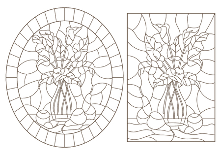 Set of contour illustrations of stained glass Windows with still lifes, bouquets of Callas and pears, dark contours on a white background