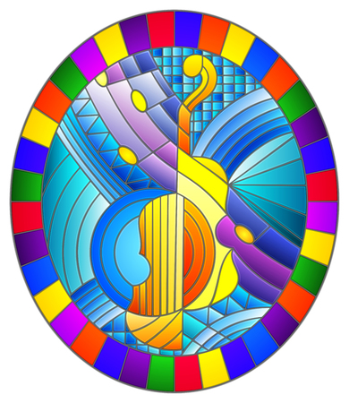 Illustration in stained glass style on the subject of music , the shape of an abstract violin on geometric background, oval image in bright frame