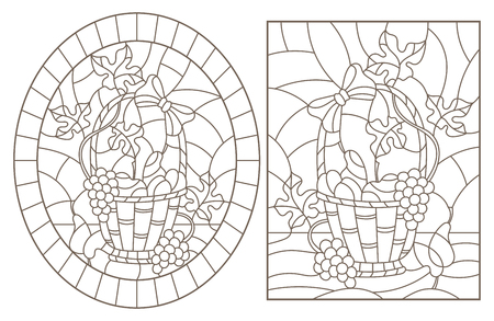 Set of contour illustrations of stained glass Windows with still lifes, fruit baskets, dark contours on a white background Vectores