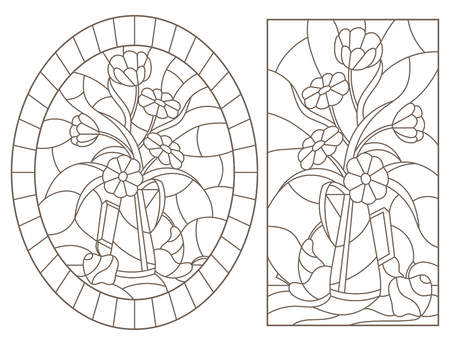 Set of contour illustrations in stained glass style with still lifes , a bouquet of flowers and fruits , dark contours on a white background Foto de archivo - 120092989