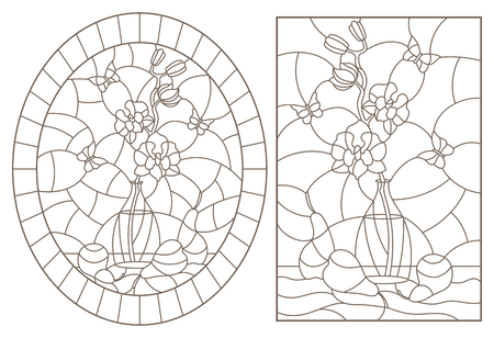 A set of contour illustrations in stained glass style with still lifes , a bouquet of orchids and fruits , dark contours on a white background