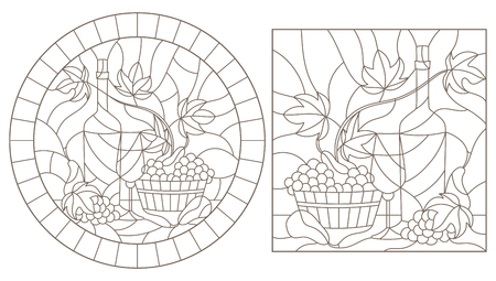 Set of contour illustrations in stained glass style with still lifes , a bottle of wine and fruit, dark contours on a white background Vectores