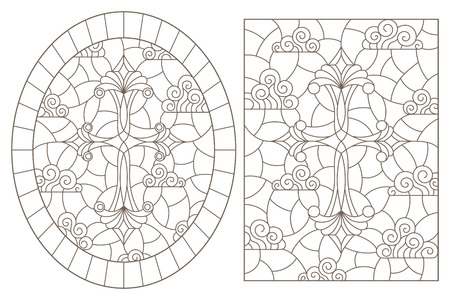 A set of contour illustrations in stained glass style with Christian crosses on a cloudy sky background , dark contours on a white background