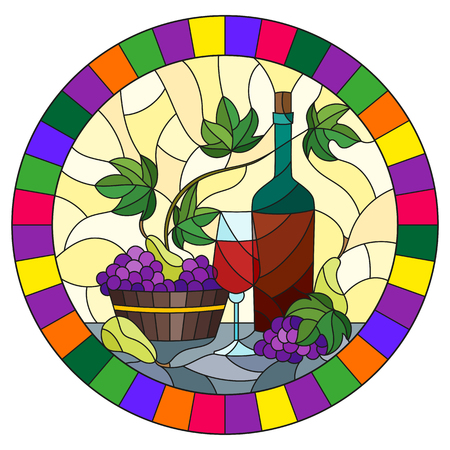 The illustration in stained glass style painting with a still life, a bottle of wine, glass and grapes on a yellow background, round image in bright frame