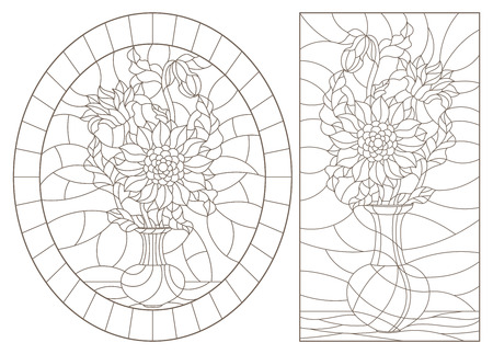 A set of contour illustrations of stained glass still lifes, bouquets in vases, dark contours on a white background