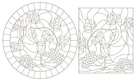 Set of contour illustrations of stained glass Windows with still lifes,jug and fruit, dark contours on a white background