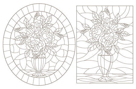 A set of contour illustrations of stained glass still lifes, bouquets of roses in vases, dark contours on a white background Vectores