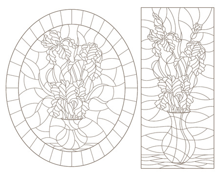 A set of contour illustrations of stained glass still lifes, bouquets of irises in vases, dark contours on a white background Vectores