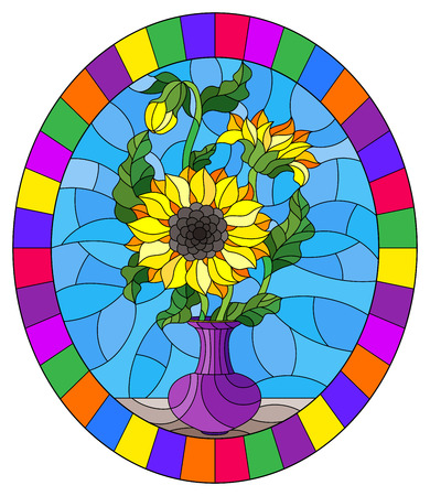 Illustration in stained glass style with floral still life, a bouquet of sunflowers in a purple vase on a blue background,, oval image in a bright frame
