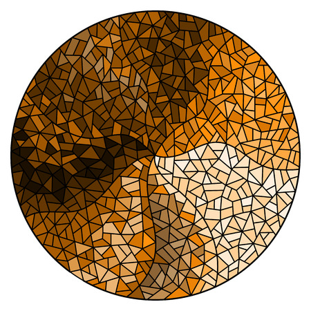 Abstract stained glass background ,monochrome,tone brown, round image