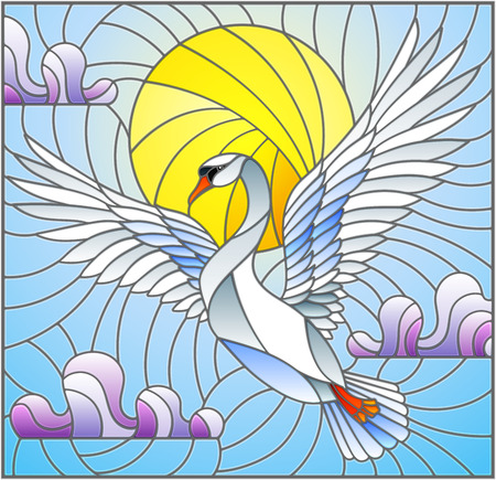 Illustration in stained glass style with flying white Swan on the background of blue sky, sun and clouds